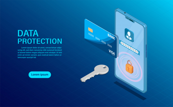 data protection concept protect data finance and confidentiality with high security flat isometric illustration