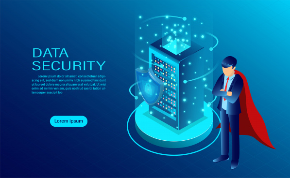 data security concept banner with hero protect data and confidentiality and data privacy protection concept with icon of a shield and lock flat isometric vector illustration