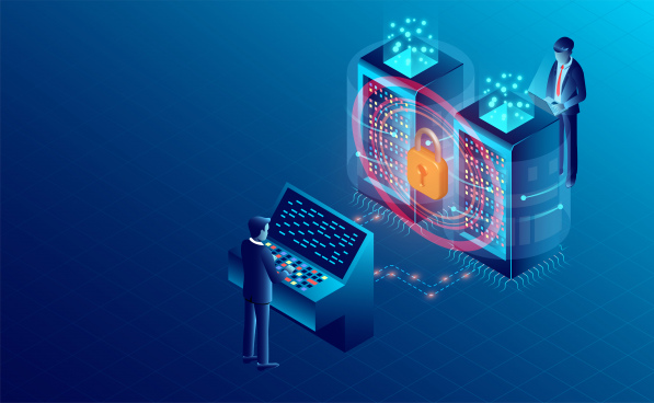 data security concept data processing protecting digital information flat isometric vector illustration