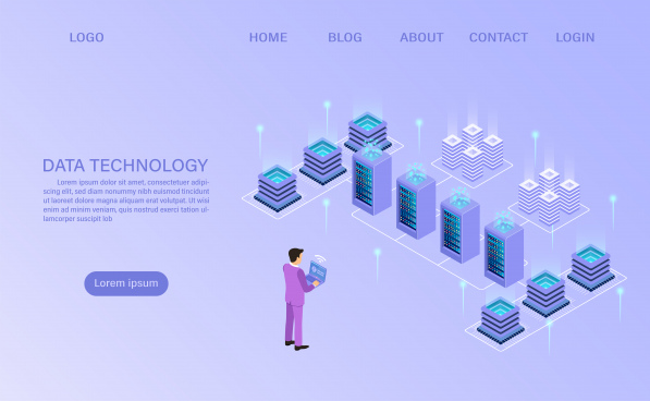 datacenter server room cloud storage technology and big data processing protecting data security concept digital information isometric cartoon vector