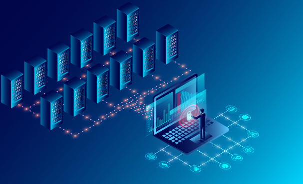datacenter server room cloud storage technology and big data processing protecting data security concept digital information isometric dark neon cartoon vector