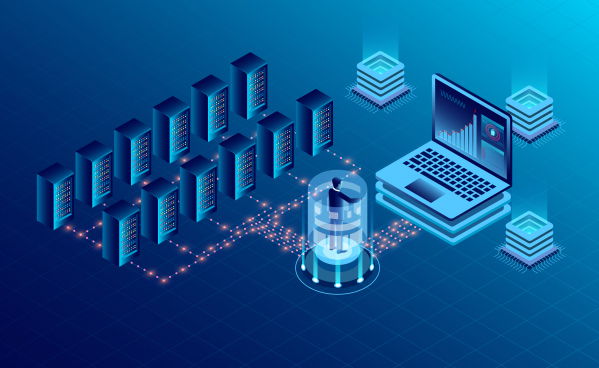 datacenter server room cloud storage technology and big data processing protecting data security concept digital information isometric dark neon vector