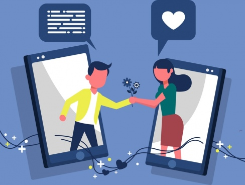dating technology banner smartphone couple speech bubbles icons