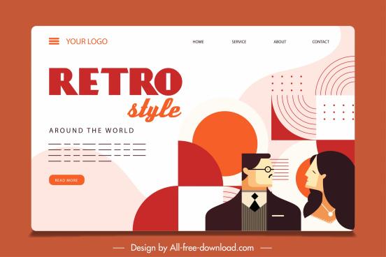 dating web site template flat retro design