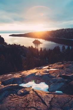 dawn daytime evening forest lake landscape mountain