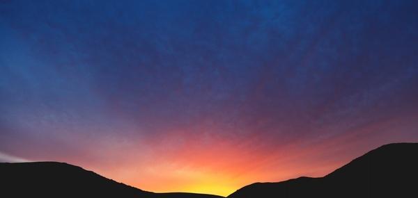 dawn desert dusk evening hill landscape light moon