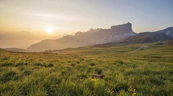 dawn desert field fog grass hill lake landscape