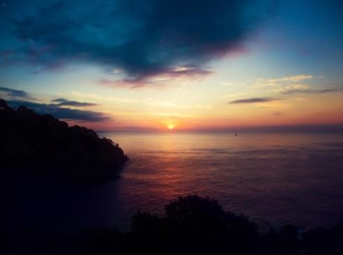 dawn dusk evening fog lake landscape light morning
