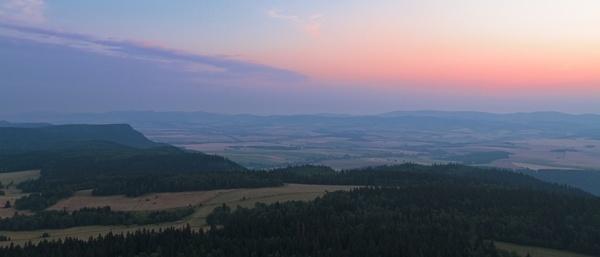 dawn evening fog forest haze hill landscape mist