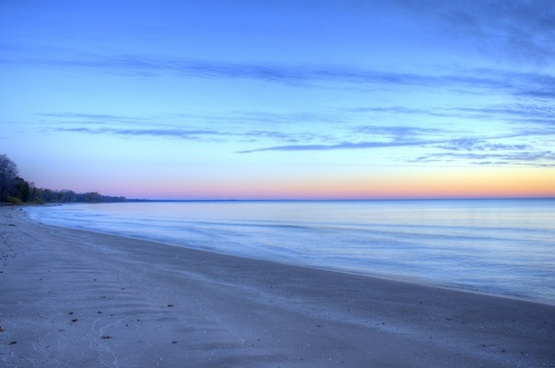 dawn over lake michigan at harrington beach state park wisconsin