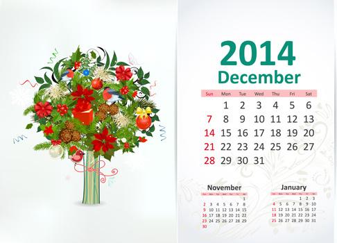 december14 calendar vector