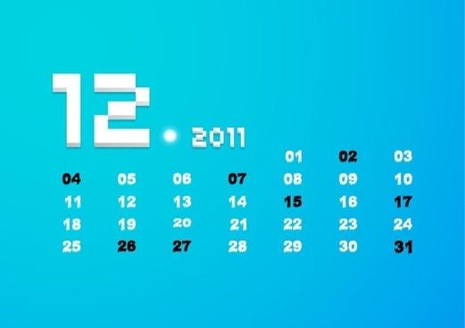 december 2011 calendar vector