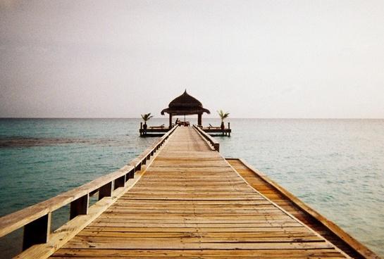 deck dock holiday horizon hut ocean pier ripple
