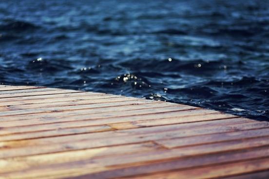 deck dock pier ripple water wave wood