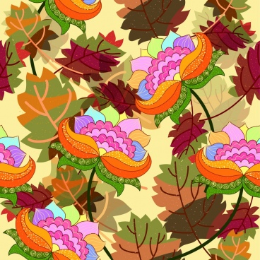 decor background colorful flowers icons cartoon style
