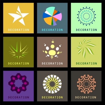 decor design elements various colorful symbols isolation