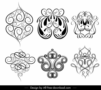 decor elements templates seamless symmetric messy curves sketch