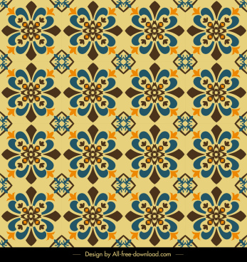 decor pattern template repeating flora sketch retro symmetric
