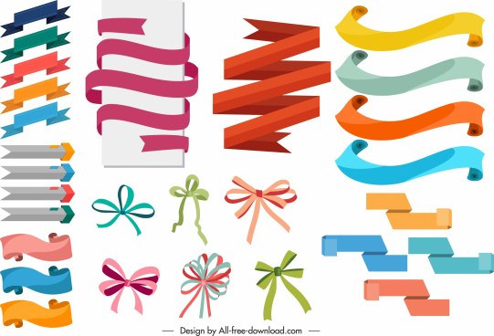 decor ribbon knot templates colorful classic shapes