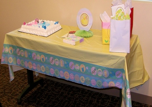 decorated baby shower table