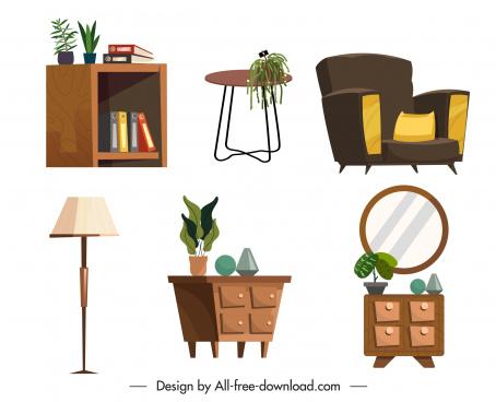 decorated furnitures icons elegant classical design
