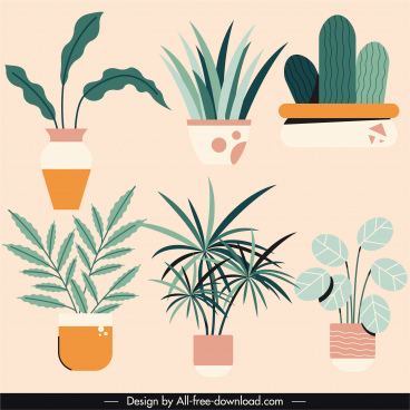 decorated houseplants icons colored flat vintage sketch
