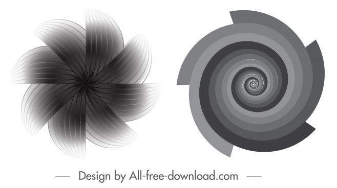 decorated illusive icons black white twisted motion shapes