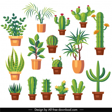 decorated plant icons cactus trees sketch flat classic