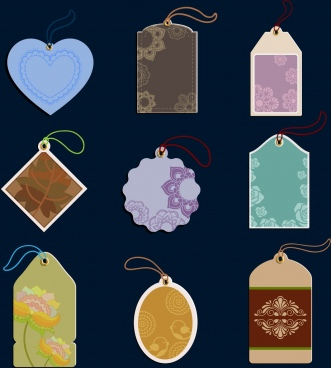 decorated tags collection various multicolored shapes isolation