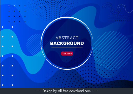 decorative abstract background template blue curves dots decor