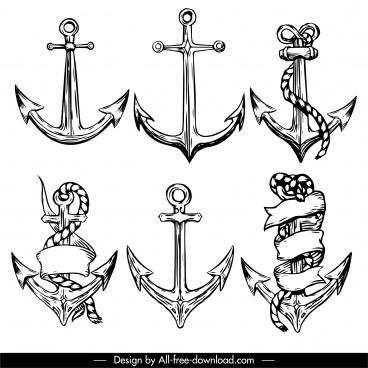 decorative anchor icons black white retro handdrawn sketch