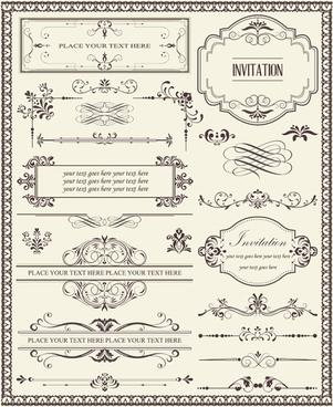 decorative and frame design elements vectors