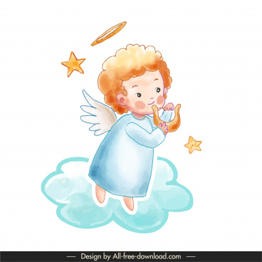 decorative angel icon cute classical handdrawn design