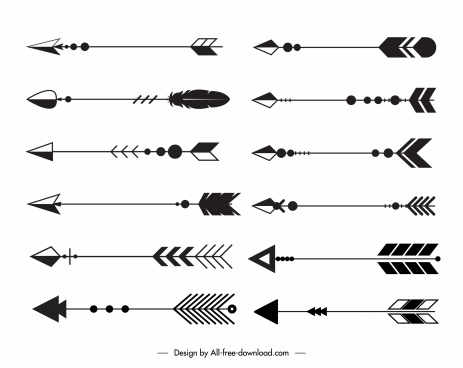 decorative arrows icons black white classic tribal sketch