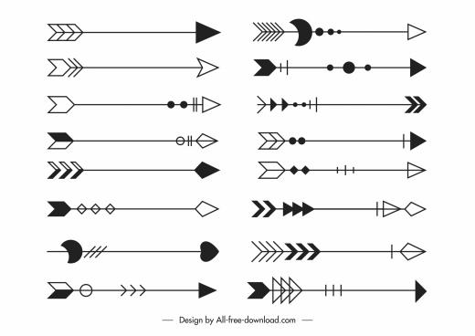 decorative arrows templates classic flat tribal sketch