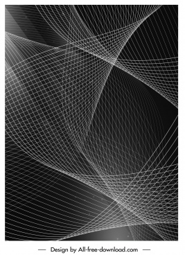decorative background black white modern 3d dynamic curves