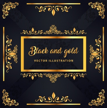 decorative background classical shiny black yellow symmetric design