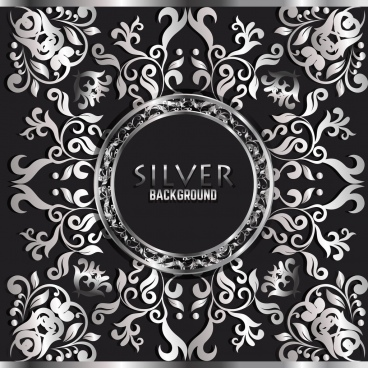 decorative background classical silver symmetric curves decor