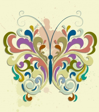 decorative background colorful curves grunge design butterfly layout