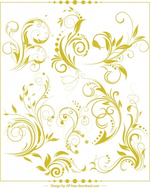 decorative background flat classical green curves decor