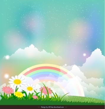 decorative background flower field rainbow decor colorful sparkles