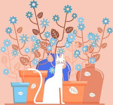 decorative background flower pots cat sketch classical flat