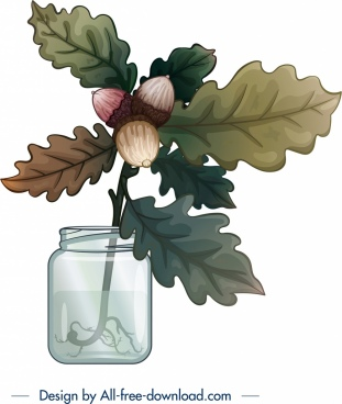 decorative background glass jar chestnut leaf icons