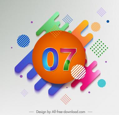 decorative background number geometrical decor colorful modern design