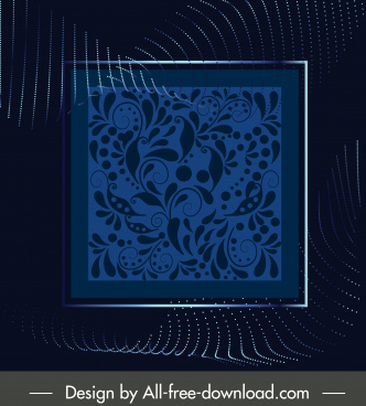 decorative background picture frame leaves pattern dark modern
