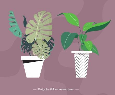 decorative background plant pots icons colored classical design