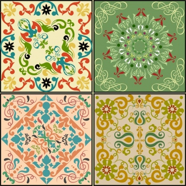 decorative background sets colorful classical symmetric decoration