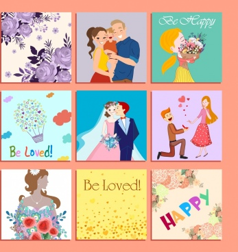 decorative background sets love theme colorful design