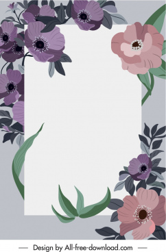 decorative background template blooming flowers sketch classic design