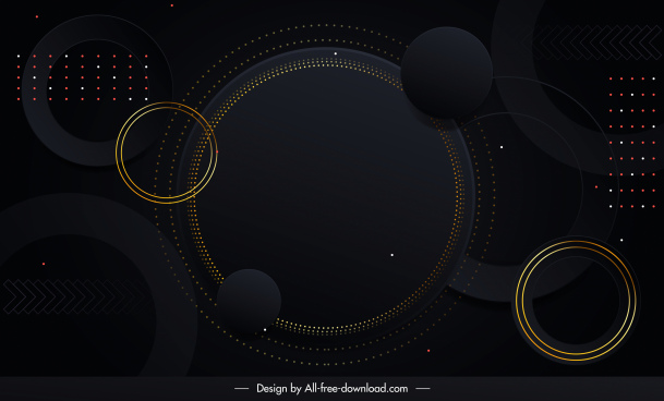decorative background template dark black design circles sketch